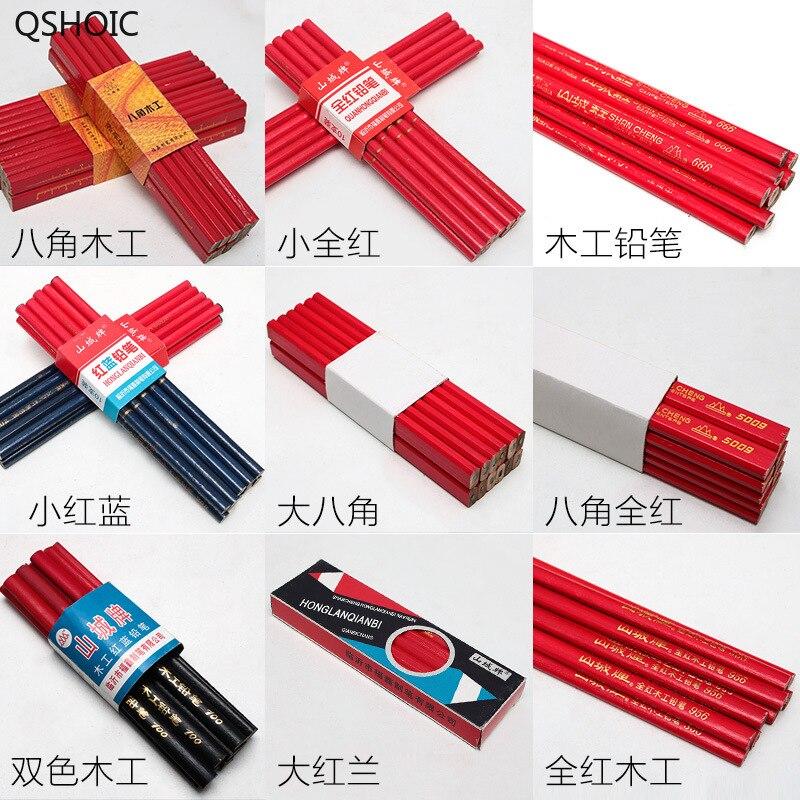 100 unids/set Octagonal Square-pole carpintería lápiz todo rojo carpintería lápiz negro lápiz carpintería