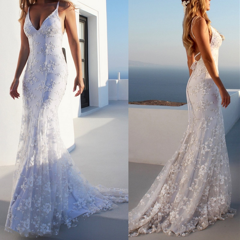 AliExpress - White Dress Wedding Woman Sexy Strapless Deep V-neck Lace Embroidered Floor-length Long Dress Bridesmaid Women Vestido Summer