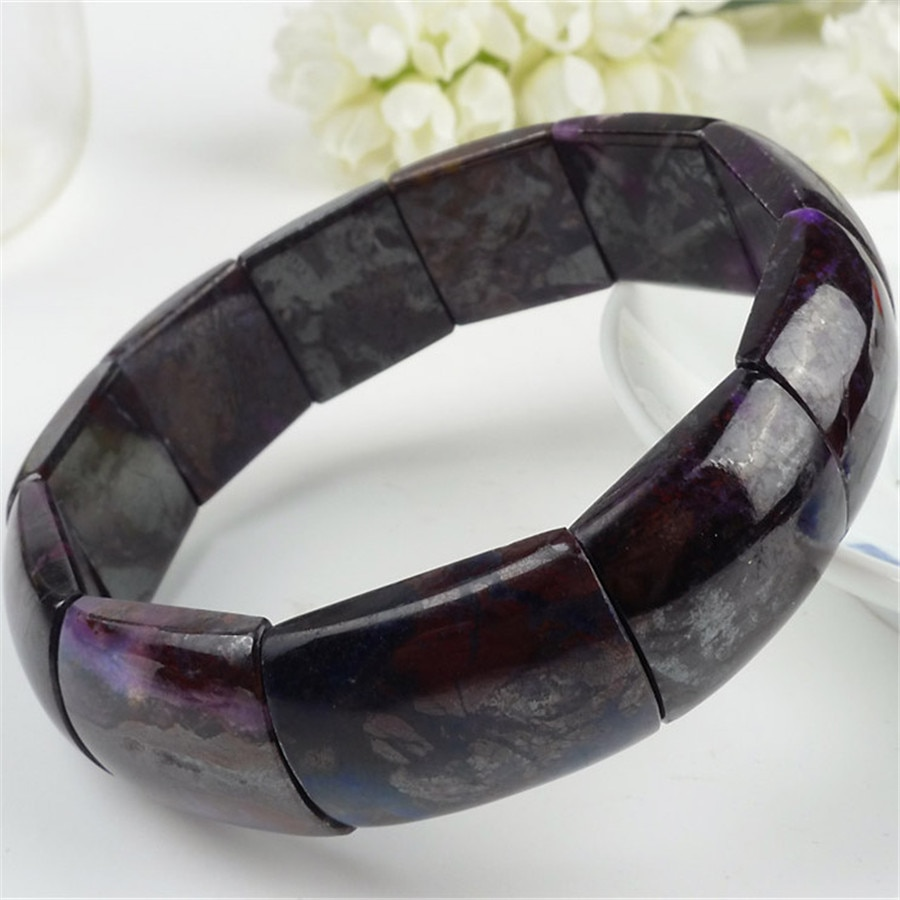Pulseras de sugilita púrpura Natural sudafricana única y genuina para mujer, pulsera elástica con abalorios de cristal Rexctangle