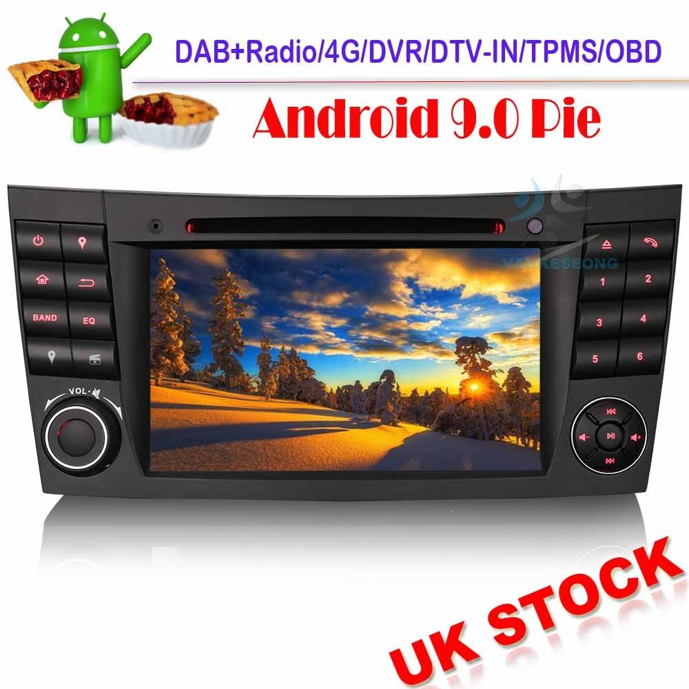 DAB + Android 9,0 Autoradio estéreo de coche GPS de navegación DVD OBD DVR Bluetooth para Mercedes Benz CLS/G/Clase E W211 W219 E200 E320 G500