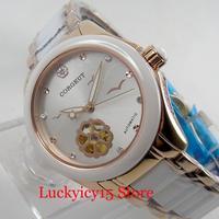 CORGEUT Luxury Women/Lady's Watch Sapphire Crystal 33mm Automatic Movement Wristwatch Mental Strap
