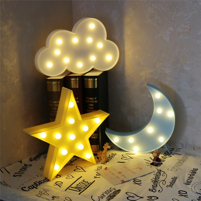 Lovely Cloud Star Moon LED 3D Light Night Light Kids Gift Toy For Baby Children Bedroom Tolilet Lamp