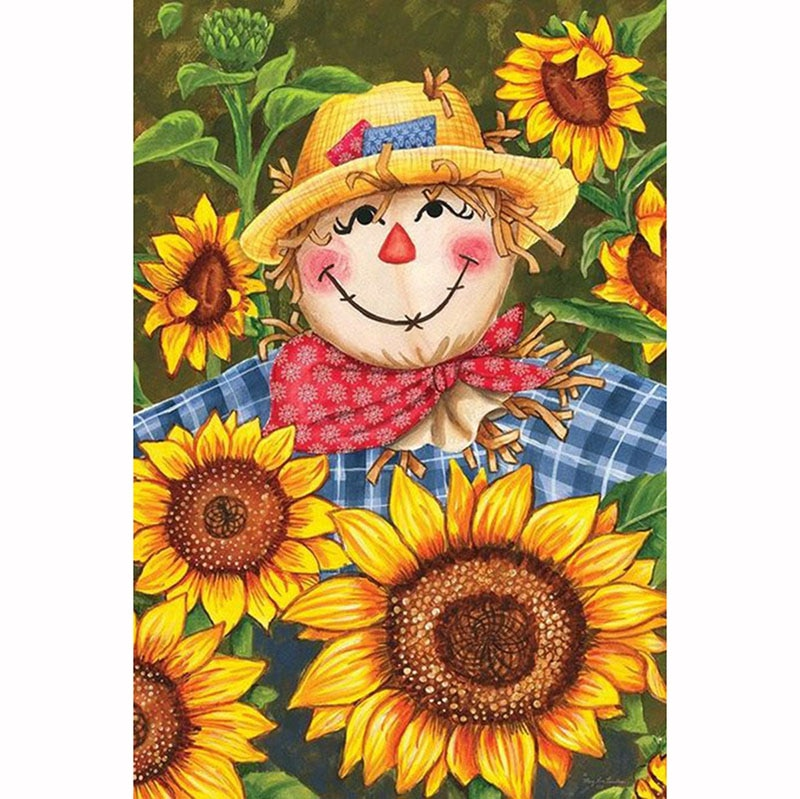 5D Diy Diamond Painting Cross Stitch Cartoon Scarecrow & Sunflower sticker Diamond Embroidery Crystal Square Mosaic Pictures