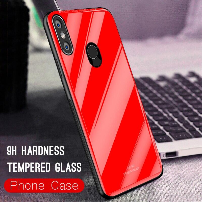 Funda de vidrio templado para Xiaomi mi 8 SE mi A2 Lite Max3 A1 mi x2S pocofone F1 funda de cristal rojo mi Note 6 Pro 5 6A S2 5A funda Coque