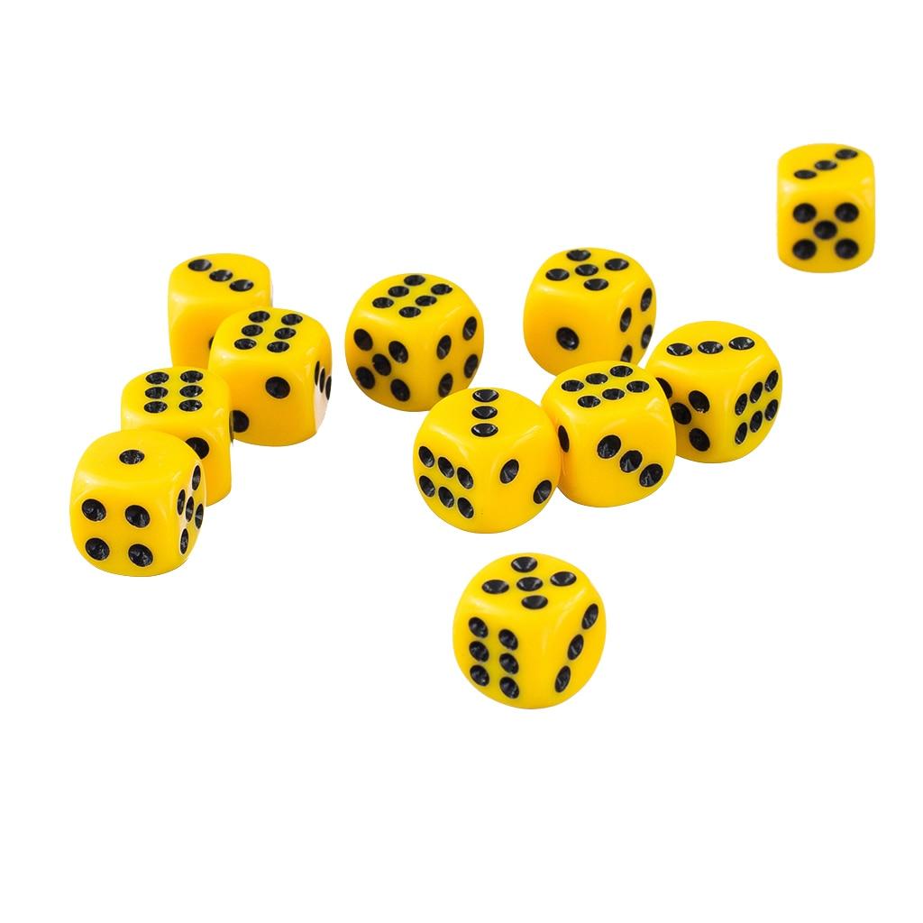 Набор желтых непрозрачных 6 сторонних кубиков D6 RPG D & новые игровые кубики 12 мм 50
