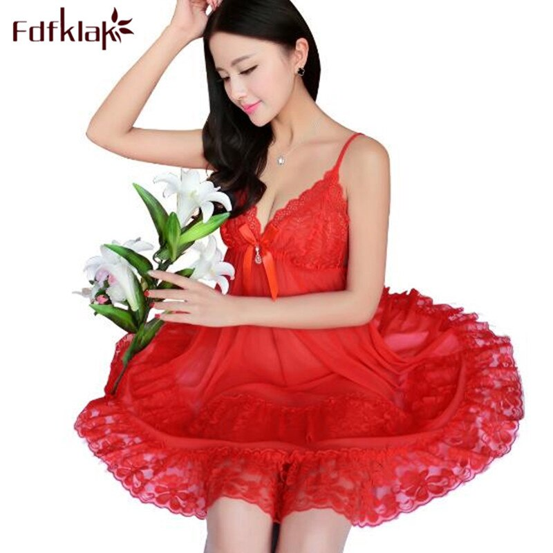 Fdfklak New summer nightgowns women sleepwear dress large size sexy v-neck nightdress mesh lace women's nightwear nightshirt