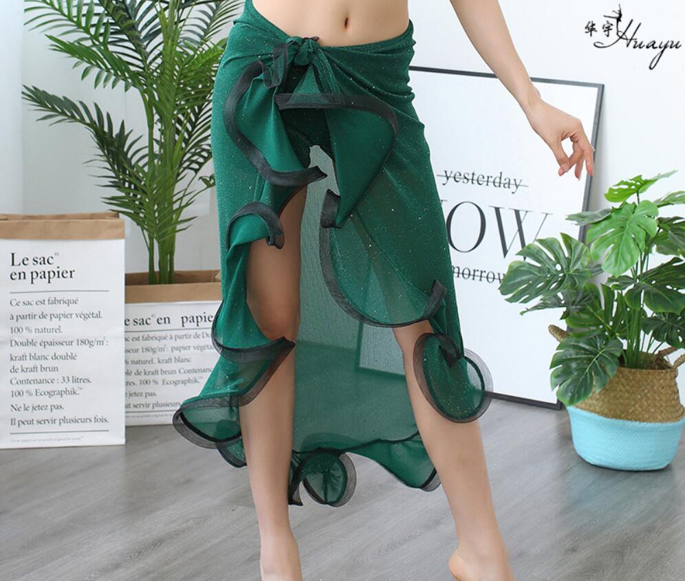 Женский костюм для танца живота, юбка для танца живота, шарф с оборками и Боковым Разрезом, темно-зеленый, корейский дизайн