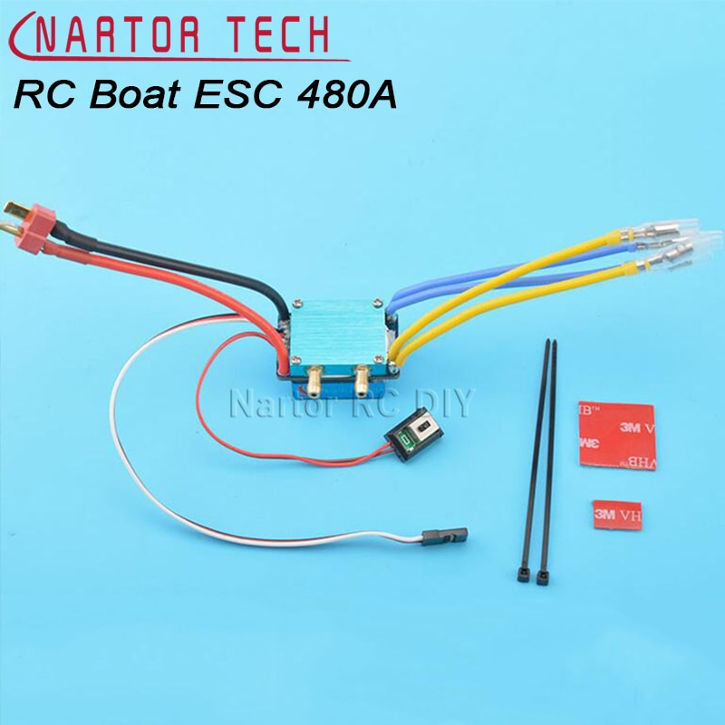 RC Boat ESC 480A 7.2-14.8V 380/540/775 Brushed Motor Speed Controller Dual Mode Regulator Band Brake for 1:10 Car Bait Boat ESC