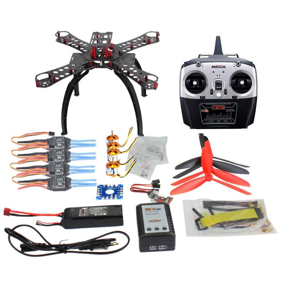 QQ سوبر متعددة الدوار التحكم في الطيران DIY 310 مللي متر ألياف الكربون Multicopter كيت Radiolink 6CH TX و RX 1400KV المحرك 30A ESC Drone أطقم