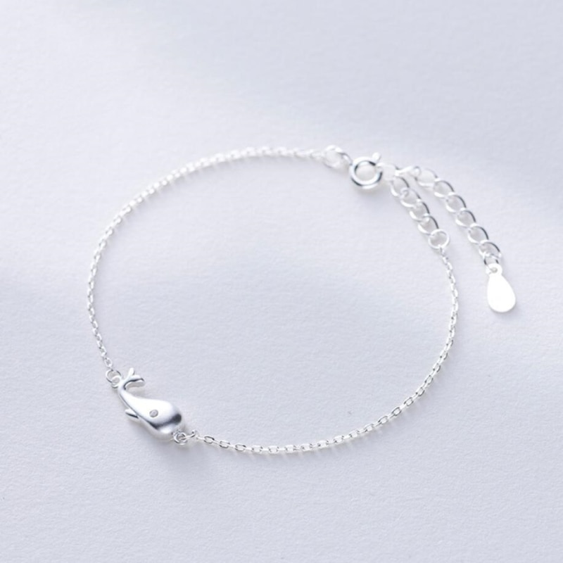 Doce bonito esfrega baleia fresca 925 prata esterlina temperamento feminino na moda pulseiras redimensionáveis sbr046