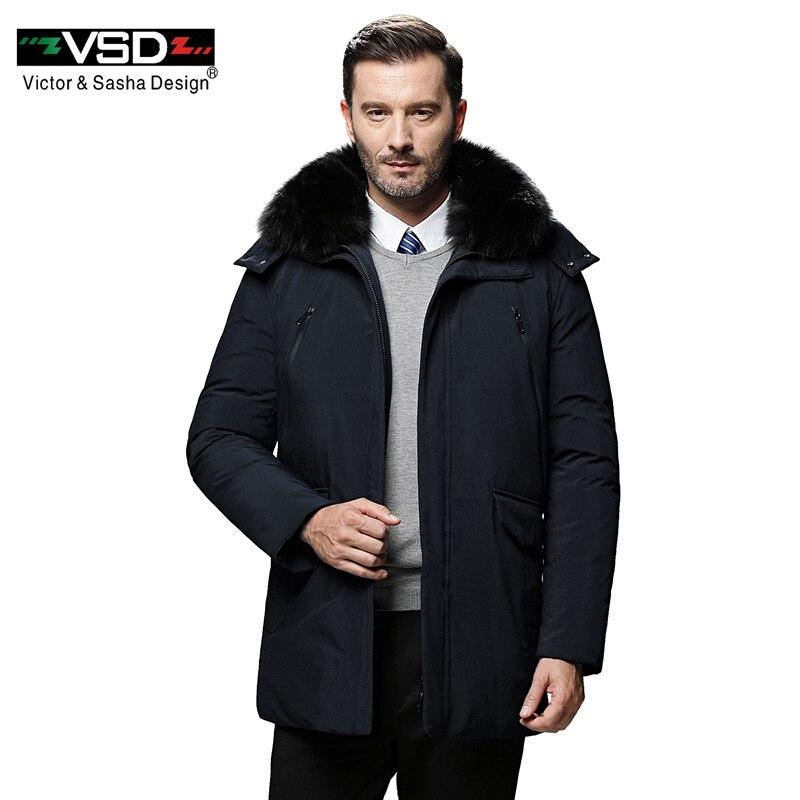 VSD Fashion Winter Duck Down Jacket For Men Coat Real Fur Hooded Warm Parkas Casual Medium-Long Thickening Coat 5XL 1706