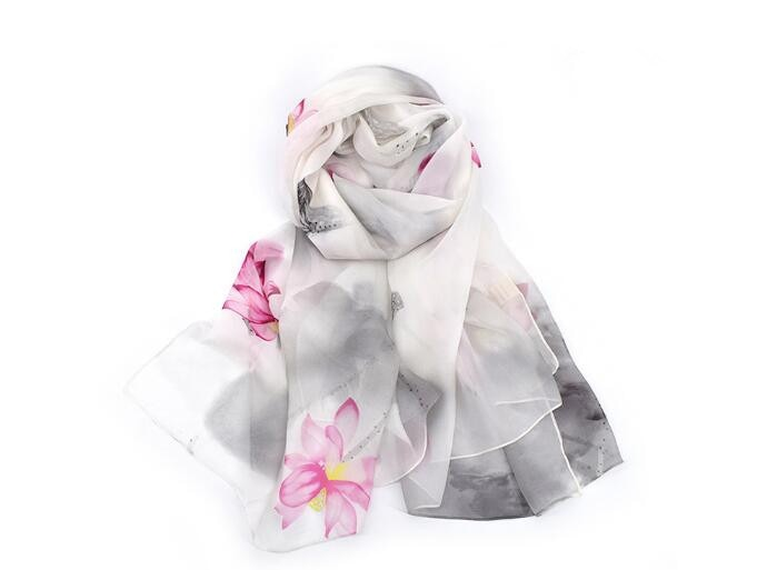 2018 New in 100% silk floral print large scarf for women