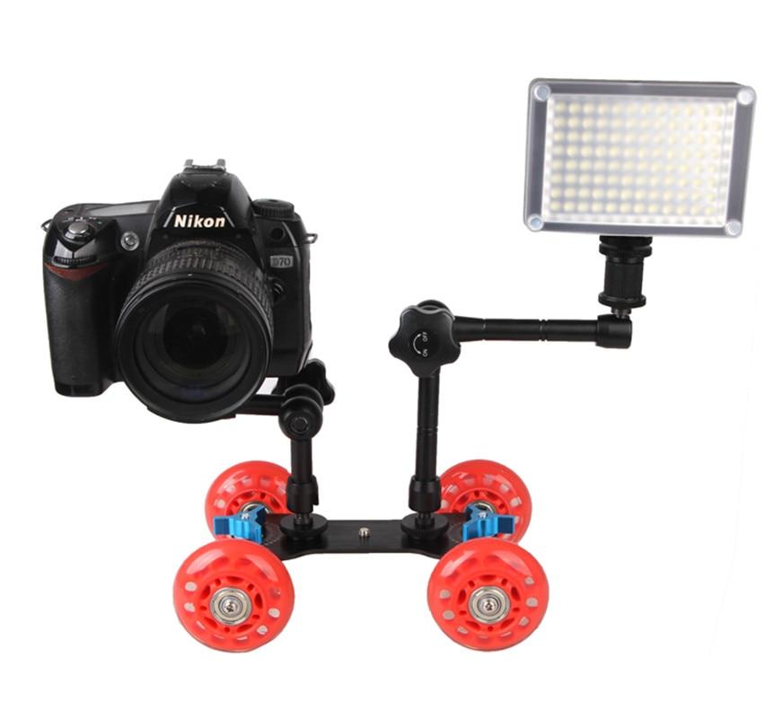 DSLR cámara de vídeo, foto, vía férrea, deslizador de pista rodante, plataforma móvil para Speedlite flash DSLR cámara de vídeo Rig de cámara