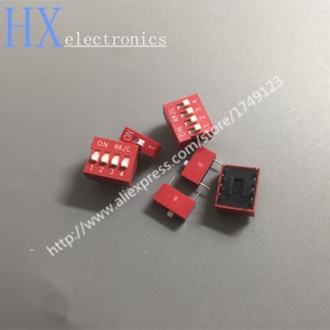 Free shipping 100PCS DIP switch Red 2.54mm Pitch 2 Row DIP Toggle switches 1p 2p 3p 4p 5p 6p 8p 9p 10p