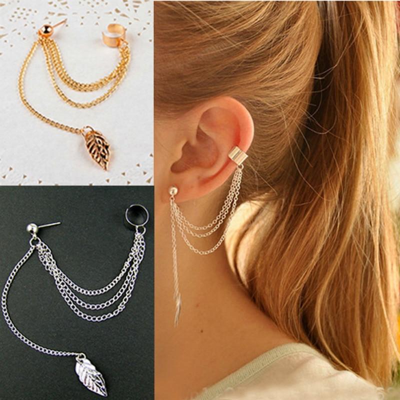 1pcs Earrings Jewelry Fashion Personality Metal Ear Clip Leaf Tassel Earrings For Women Gift Pendien