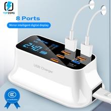 8 Ports Charge rapide 3.0 Led affichage USB chargeur pour Android iPhone adaptateur téléphone tablette chargeur rapide pour xiaomi huawei samsung