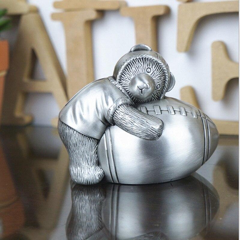 Hucha ElimElim de Europa, pequeño oso, Rugby, ahorro de dinero, decoración para sala de estar, tamaño pequeño