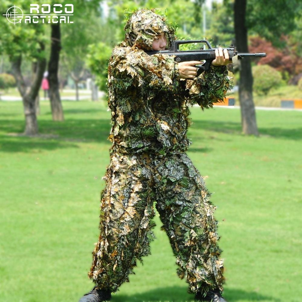 Ligero de ropa de caza 3D de hoja de arce de trajes Ghillie biónicos transpirable Yowie francotirador Birdwatch Airsoft ropa de camuflaje