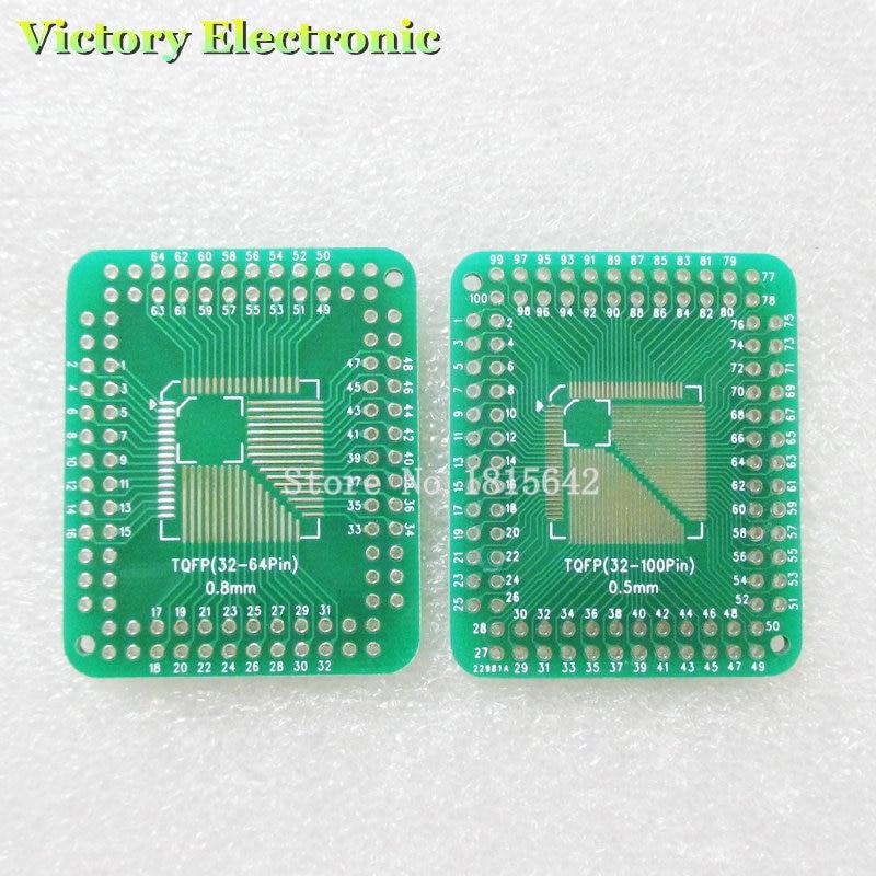 5 unids/lote QFP TQFP LQFP FQFP 32 44 64 80 100 LQF SMD que adaptador DIP convertidor de placa PCB Placa de 0,5/0,8mm adaptador de circuito integrado hembra