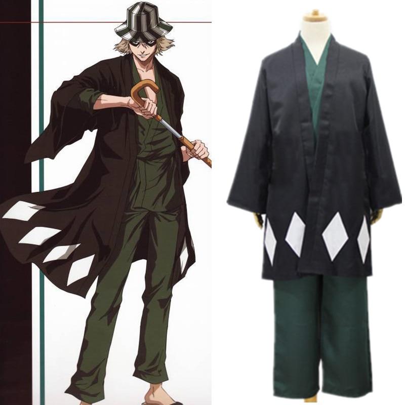 2019 japonés Anime BLEACH Urahara Kisuke kimono uniforme Cosplay disfraz Halloween Disfraces traje capa Top pantalones sombrero traje