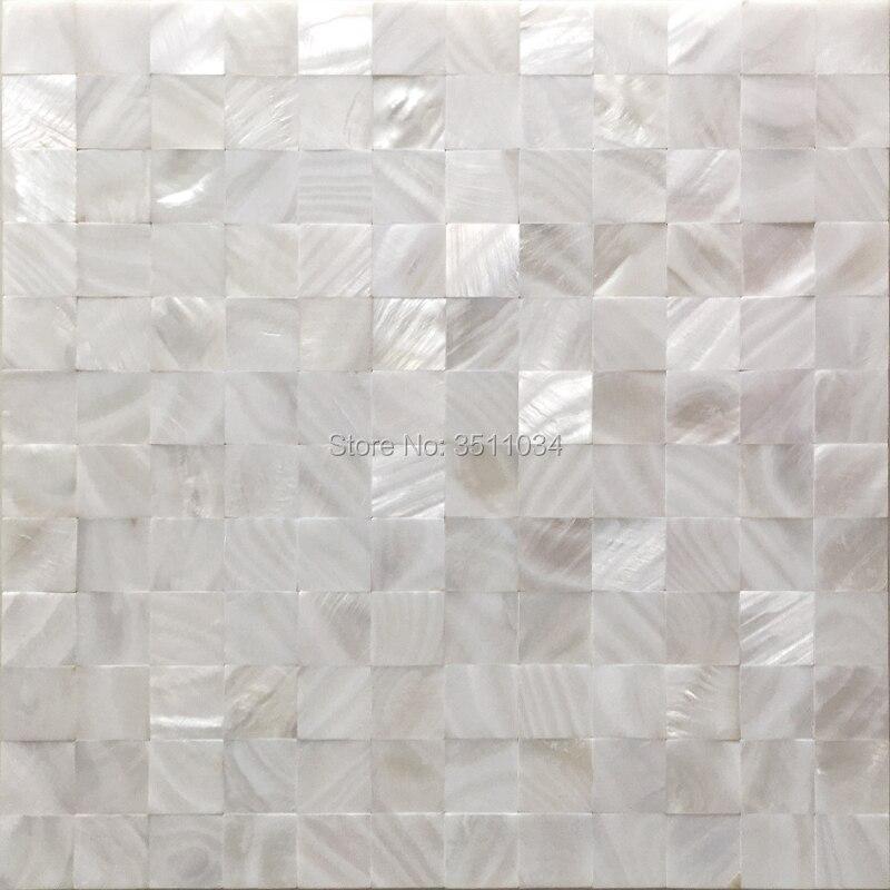 Baldosas de mosaico de concha blanca de 25 MM, mosaico de concha de perla Marina natural de 12x12 pulgadas