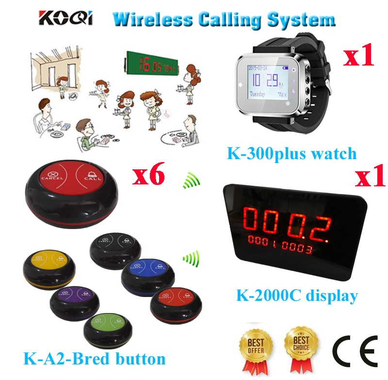 Wireless Table Paging System 433.92mhz Restaurant Call Number Display Watch Waterproof Caller(1 display+1 watch+6 call button)