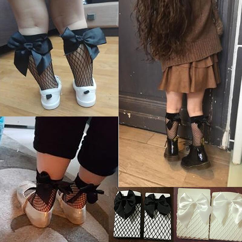 Calcetines de red de verano para niños, calcetines cortos con volantes al tobillo para niñas pequeñas, calcetines de malla de encaje con lazo para niños, calcetines grandes hasta la rodilla de malla