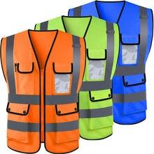 US Hi-Vis Safety Vest With Zipper Reflective Jacket Security Waistcoat Pocket