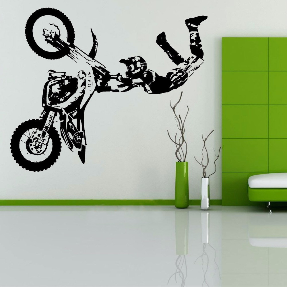 STUNT BIKE MOTORRAD X SPIELE MX Wandaufkleber MOTOCROSS DIRT BIKE Grapic Kreative Aufkleber Fenster Vinylwand-aufkleber-abziehbild-wandhauptzimmer Decor