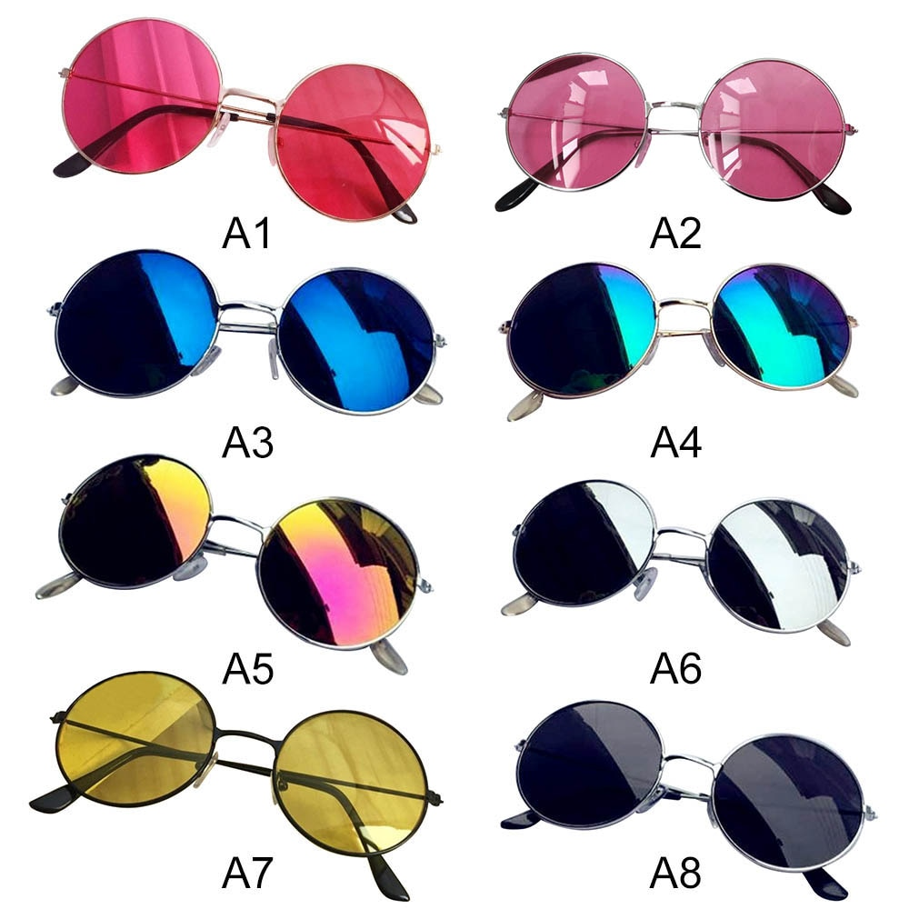 Colorful Lens Sun Glasses Vintage Men Sunglasses Women Retro Punk Style Round Metal Frame Fashion Ey