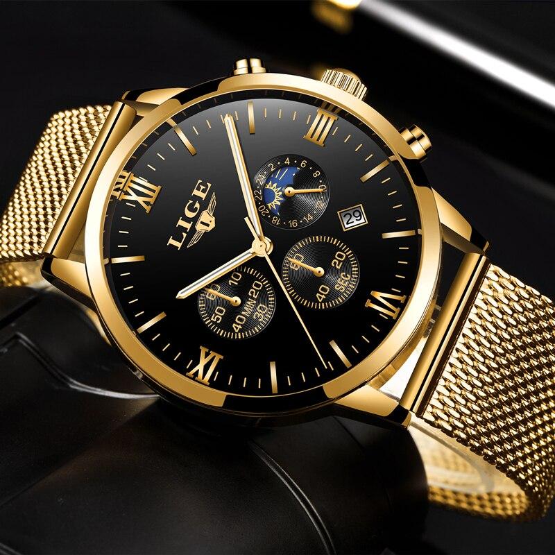 LIGE-Relojes Para Hombre de marca lujosa, reloj de cuarzo dorado de malla informal de acero para hombre, reloj deportivo resistente al agua + caja