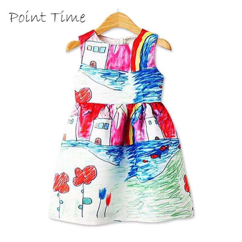 Colorido vestido da menina 2018 verão vestido de princesa menina designer personagem pintura crianças vestidos para meninas roupas vetement fille