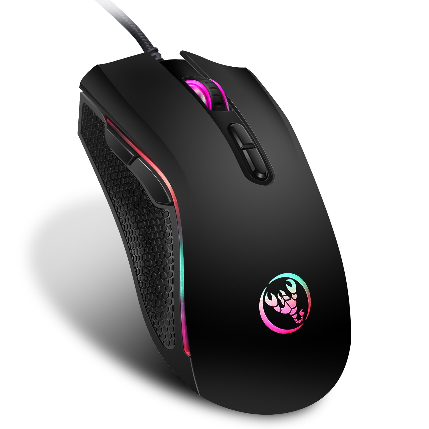Hongsund  High-end optical professional gaming mouse with 7 bright colors LED backlit and ergonomics design For LOL CS