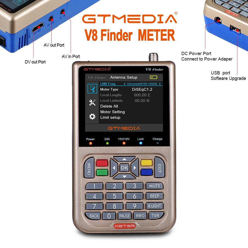 GT MEDIA/Freesat V8 Finder Meter DVB-S2/S2X Digital Satellite Finder de alta definición 1080 P