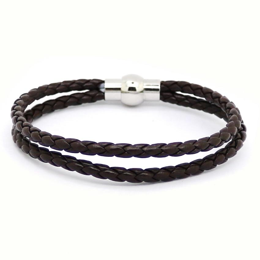 2016 Pure Handmade Leather Bracelet Fashion Jewelry Men Bracelet Casual Personality Retro Two layer Bracelet