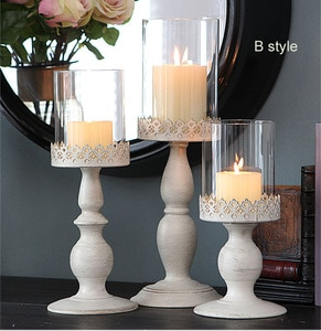3 size Iron Metal White Gold Block Candle Stand Pillar Candlestick with Glass Cover Candle Holder For Home Wedding Decoration