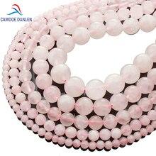 CAMDOE DANLEN lumière pierre naturelle Rose Rose Quartz perles de cristal de roche 4/6/8/10/12/14mm Fit bricolage perles de rocaille pour la fabrication de bijoux