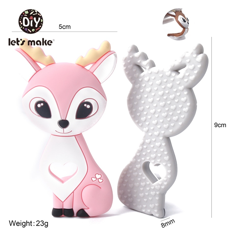 Let's Make 1pc Baby Silicone Teethers Food Grade Silicone Rodent Animals Pendant Teething Toys DIY Pacifier Chain Baby Teether недорого