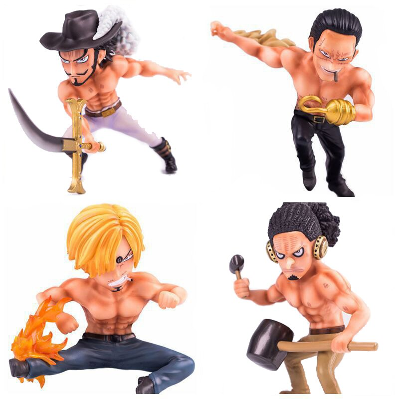 Anime One Piece Shirtless Sanji & Dracule Mihawk & Sir Crocodile & Usopp Figure Model Toys