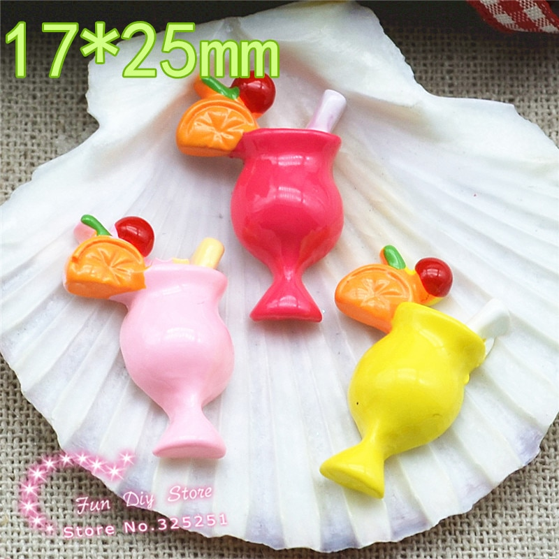 Fruit drink resina flatback craft para ornamento 17*25mm 50 Uds