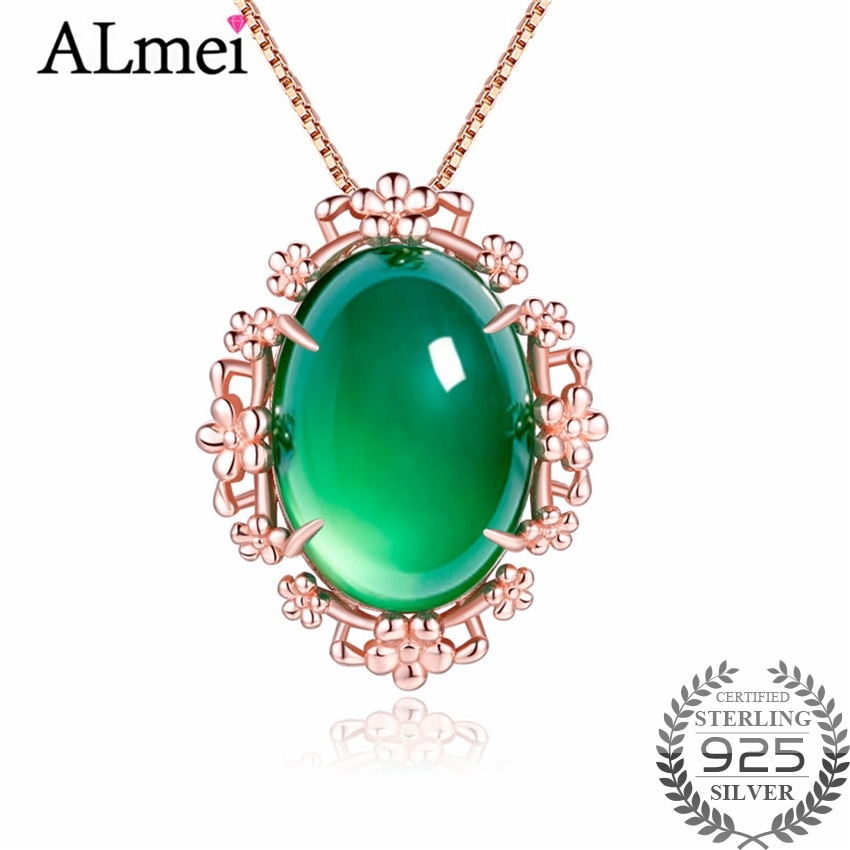 Almei, 16ct, collar llamativo de Calcedonia con piedras, colgantes redondos ovales verdes para un cuello, caja de joyería fina de plata 925 40% FN069
