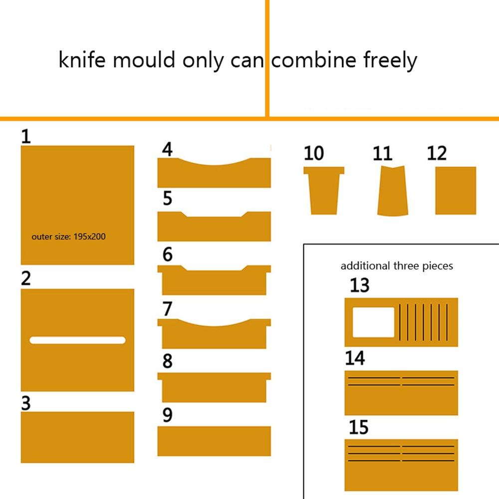 Carteira de Couro Longa Livre Combinar Faca Molde Conjunto Morrer Corte Handpunch Ferramenta Modelo 12 – 15 Peças Diy