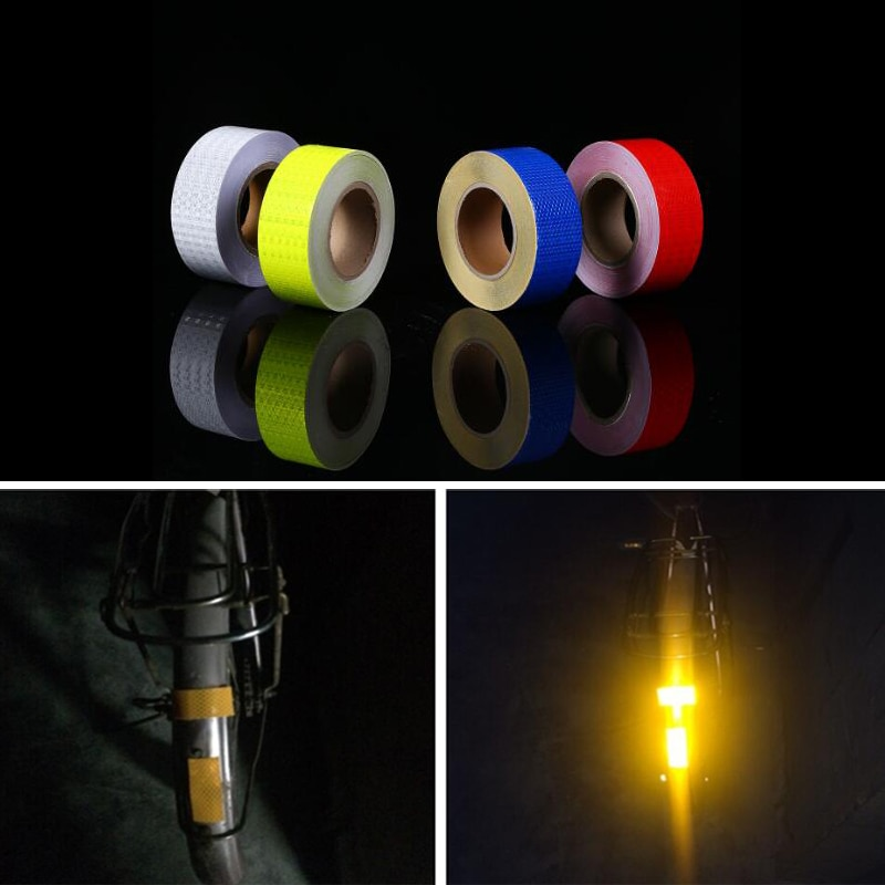 50mm X10m Stickers Decals Reflective Stickers Strip Bicycle Reflective Tape Sticker Bicycle Wheel Bike Bicycle Accessories