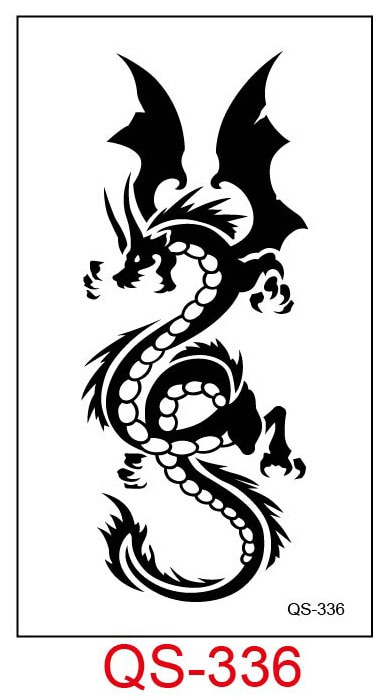 Tatuaje temporal a prueba de agua pegatinas dragón animal tatuaje falso figura geométrica de animal Flash tatuaje mano parte trasera del pie para chica mujeres hombres