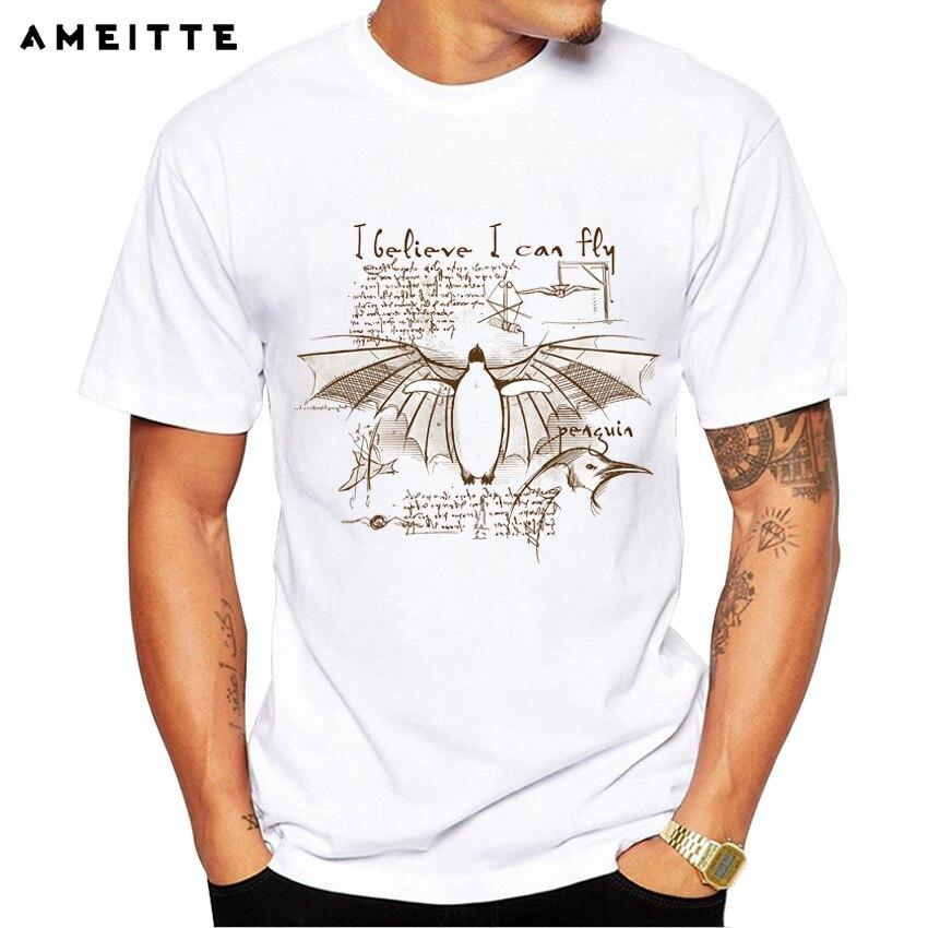 2019 Funny Math design Penguin T-Shirt lato osobowość zwierząt męskie koszulki z nadrukiem Hipster Geek z krótkim rękawem topy Tee