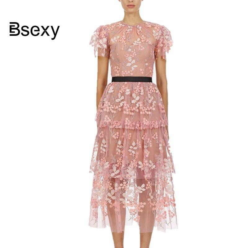 Vestidos verano 2019 autorretrato mujeres Rosa vestido largo lindo ver a través de la flor bordado de malla vestido de fiesta túnica de Festival pull