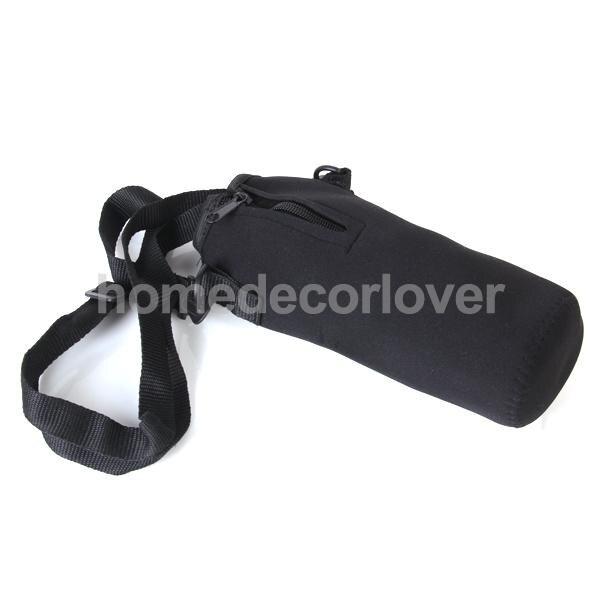 1L Zip Isolierte Wasser Flasche Abdeckung Fall Hülse Beutel Träger tasche + Schulter Gurt