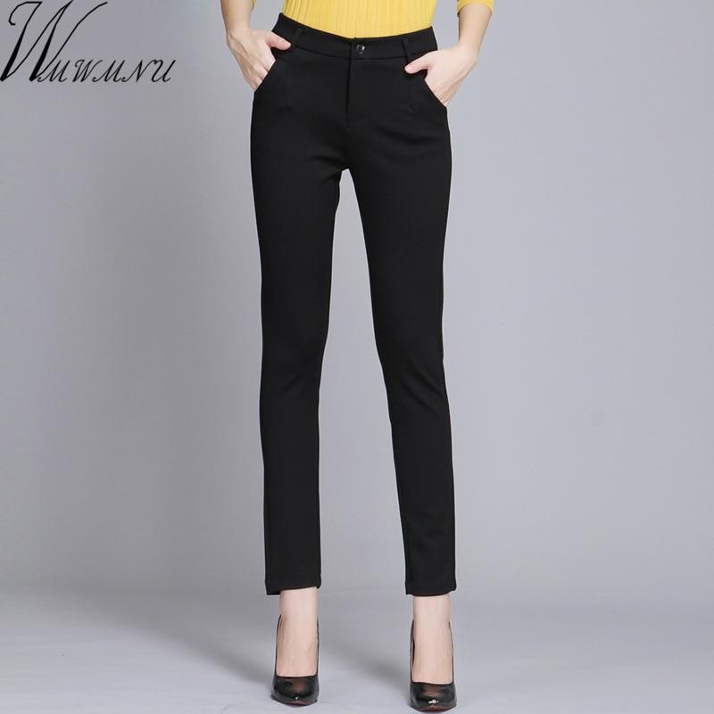 Wmwmnu-بنطلون نسائي ضيق ، ملابس عمل ، كاجوال ، أسود ، مقاس كبير 4XL ، نحيف ، مرن ، ربيعي