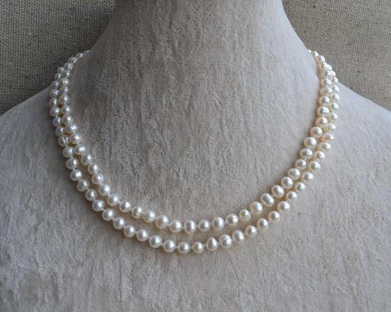 حقيقي مجوهرات من اللؤلؤ ، أبيض اللون لؤلؤ مستزرع في الماء العذب قلادة ، 2 صفوف 16-17 بوصة 5-6 مللي متر مزدوجة حبلا اللؤلؤ والمجوهرات