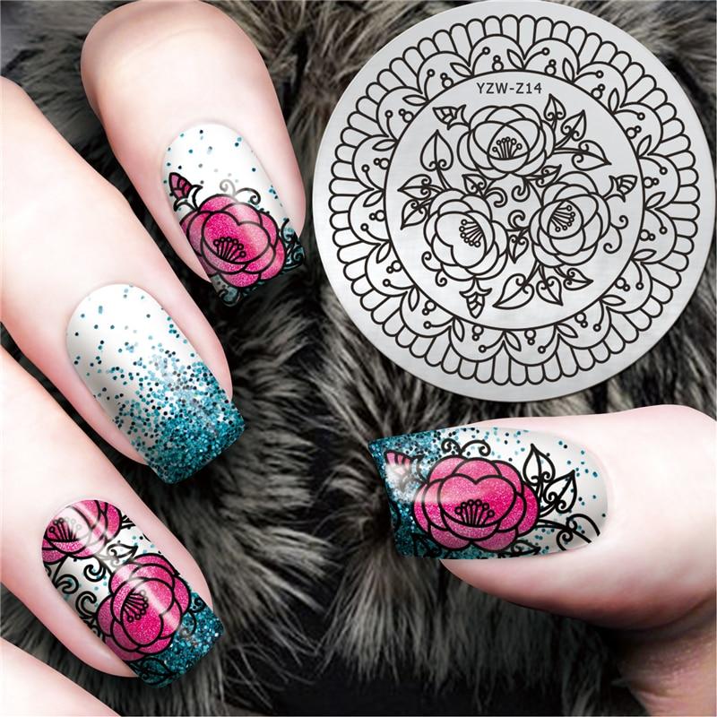 LCJ, elegante y elegante diseño de flor, placa de sello de Arte de uñas, estampado de Mandala, placa de imagen, plantillas para estampado de uñas de Damasco # YZW-Z14